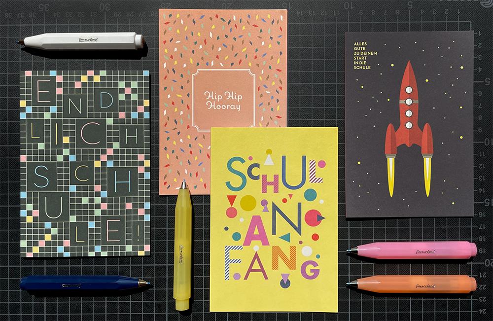 Grußkarten und Kugelschreiber